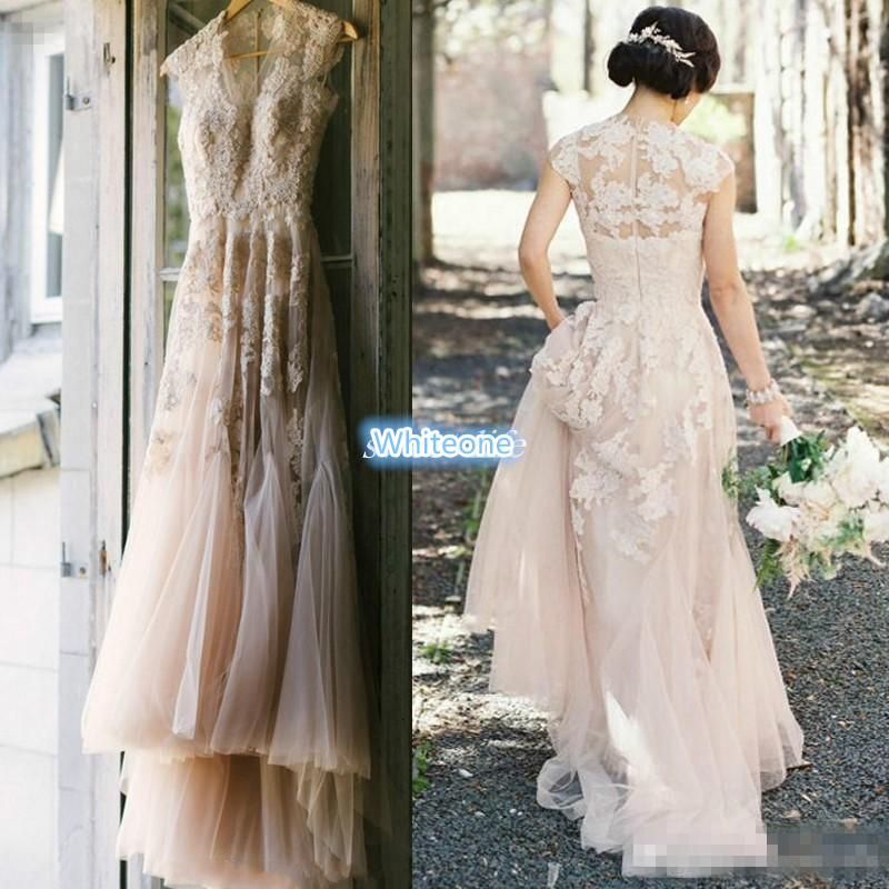 Vintage Blush Tulle Wedding Dresses 2016 A Line Sheer V