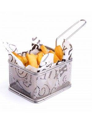 Friturekurv til servering - firkantet 105x90x(H)65 mm