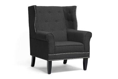 Baxton Studio Kyleigh Gray Linen Modern Arm Chair Affordable