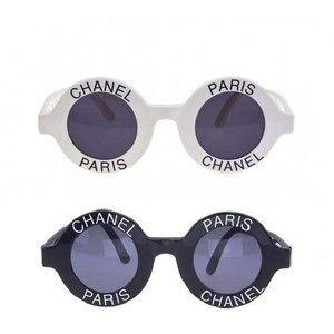 "830d97f97 chanel round logo sunglasses | VINTAGE CHANEL ""CHANEL PARIS"" LOGO ROUND  WHITE SUNGLASSES"