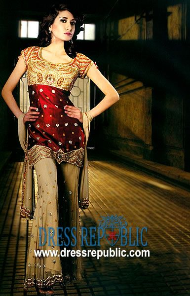 Maroon Beige Himalya - DR1517, Pakistani Sharara Design, Latest Sharara Designs Online Shop by www.dressrepublic.com