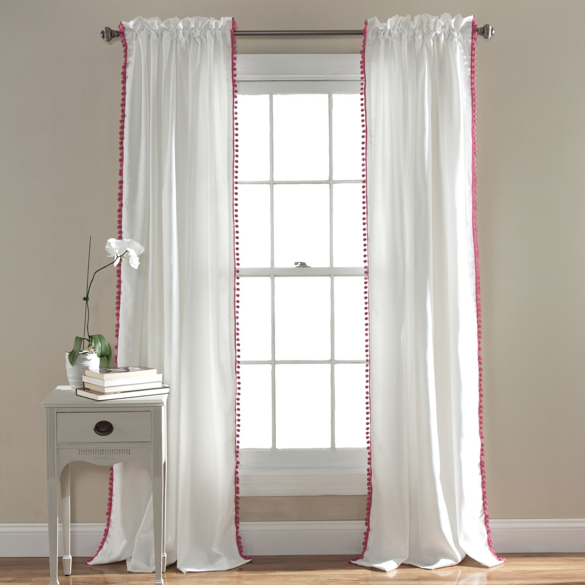 Pom pom single curtain panel curtains pinterest for Drapes over crib