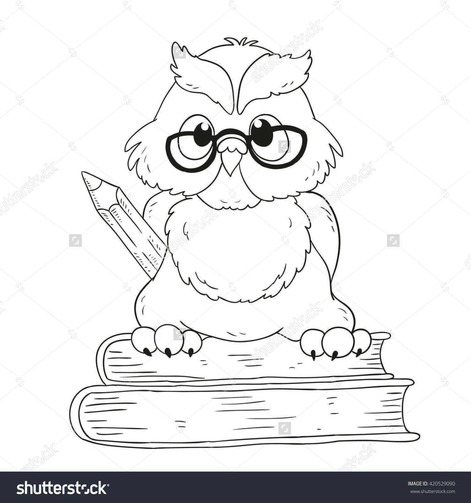 Cartoon Character Graduation Owl With Glasses For Coloring Book