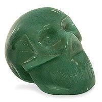Green quartz statuette, 'Green Skull'