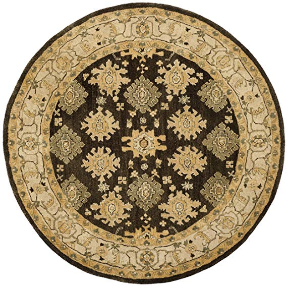 Amazon Com Safavieh Taj Mahal Collection Tjm114a Handmade Traditional Brown And Ivory Wool Round Area Rug 6 Dia With Images Round Area Rugs Area Rugs Oriental Wool Rugs