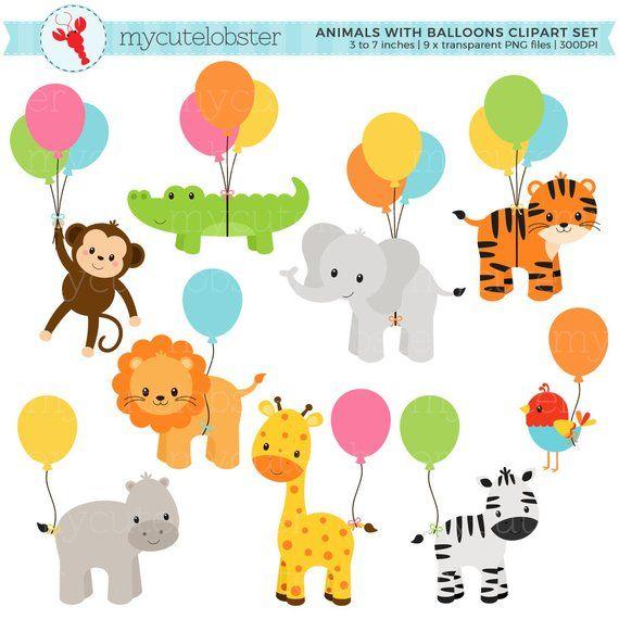 Safari Animals With Balloons Clipart Set Giraffe Monkey Etsy Balloon Clipart Clip Art Safari Animals