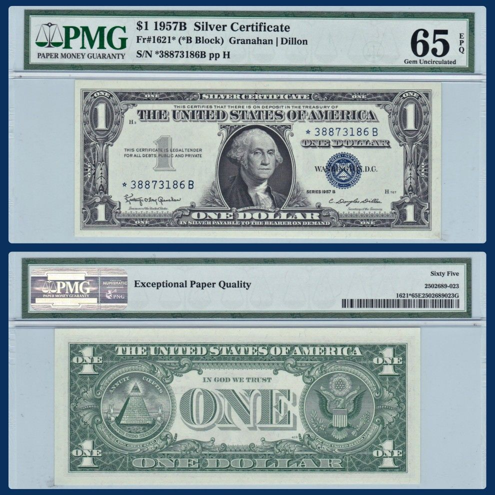 SOLD] Series 1957B ⭐Star⭐ Silver Certificate in Gem Uncirculated ...