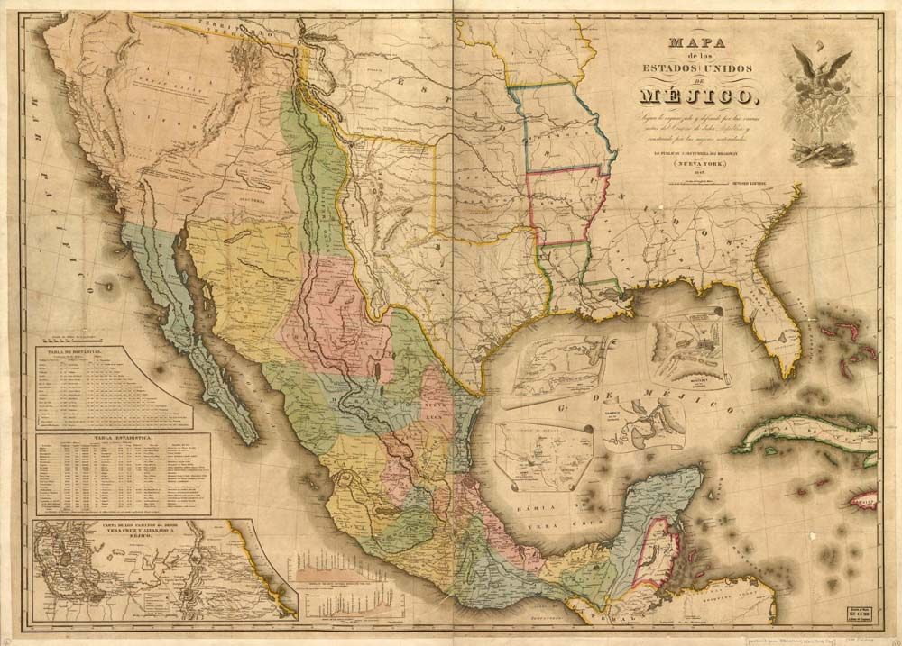 You Are Viewing An Original 1847 Map Of Mexico At The Time Of The