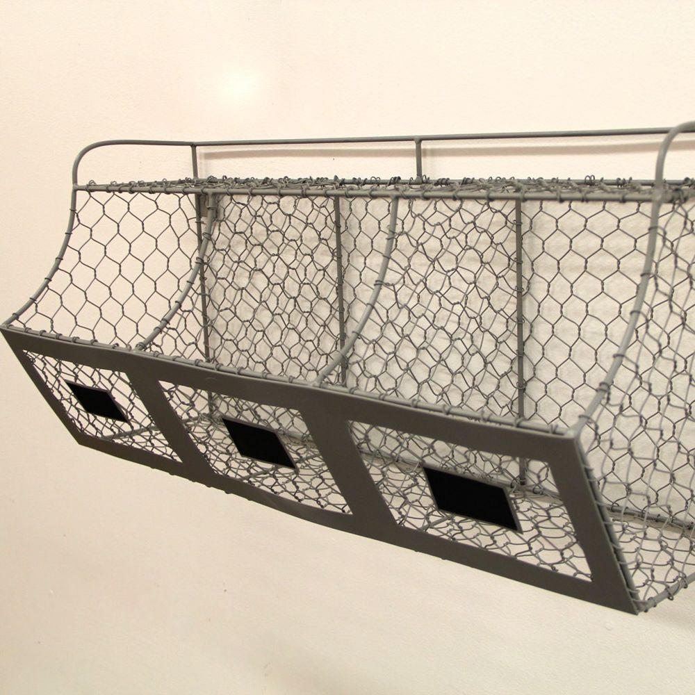 Rustic Farmhouse Chicken Wire Storage Bin/Basket Primitive/French ...