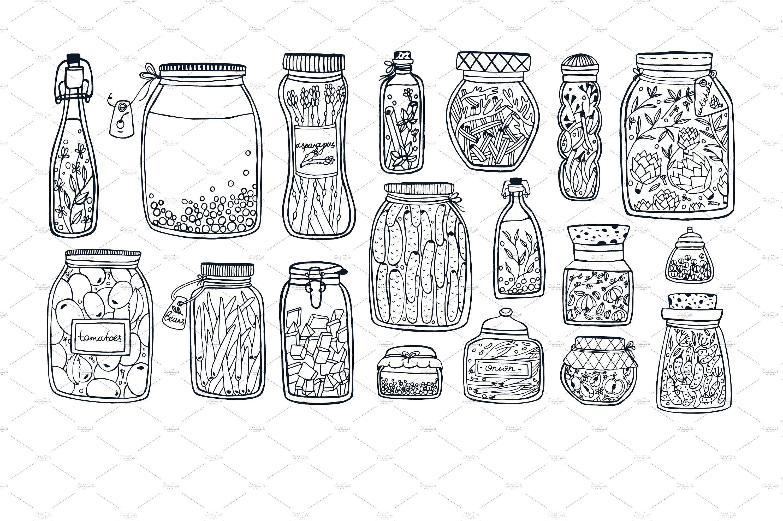 Pickled Vegetables Fruits In Jars Pickled Vegetables Vegetable Drawing Vegetables