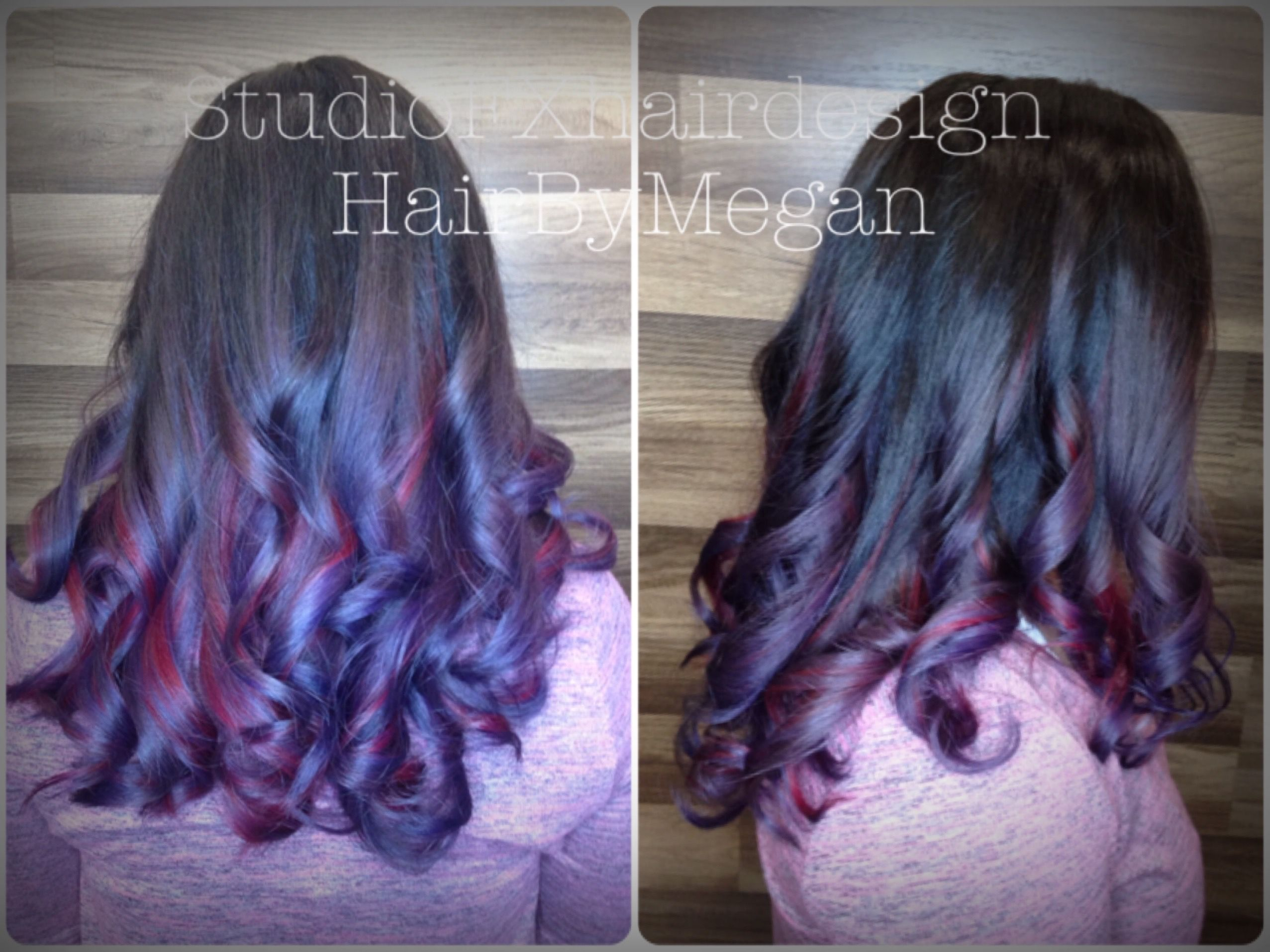 Purple Red Pink Blue Bright Hair Vibrant Colors Bright Hair Womens Haircuts Purple Hair