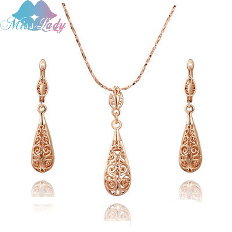 Miss Lady Rose Gold Plated Rhinestone Crystal Vintage Water Drop
