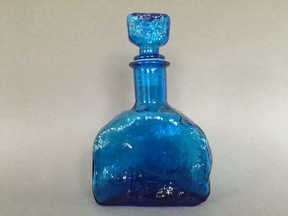 "Italian ,,Empoli"" Stunning blue glass decanter with stopper, bark / crinkled Glass 1960s / 1970s Italy."