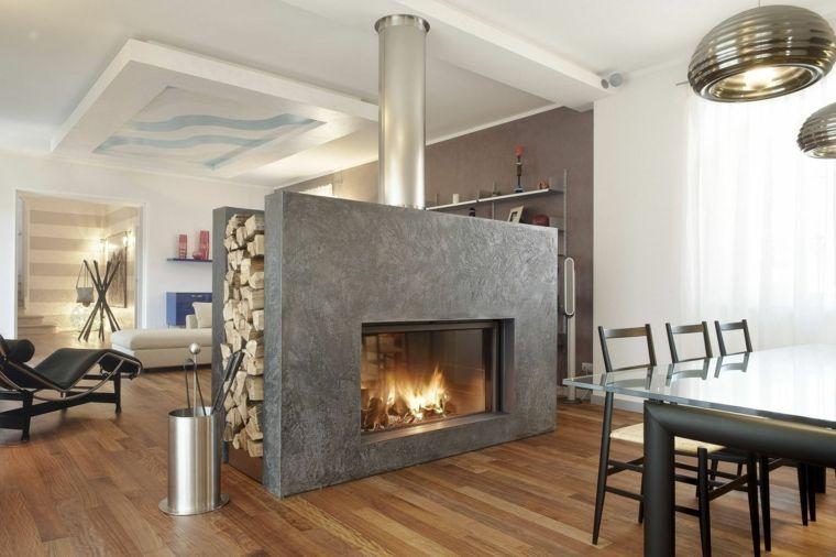 diseño de salón con chimenea moderna