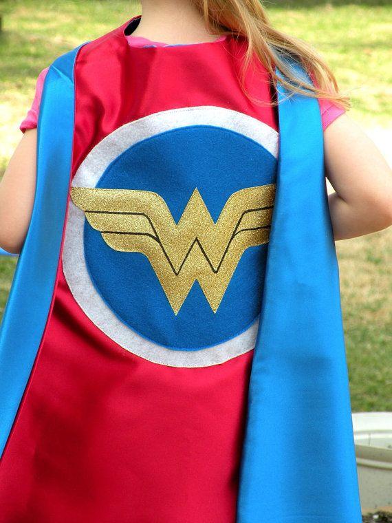 9ecbe0962 Girls Wonder Woman style Super Hero Cape-double side - Perfect girl's  WOnder Woman costume for Halloween!