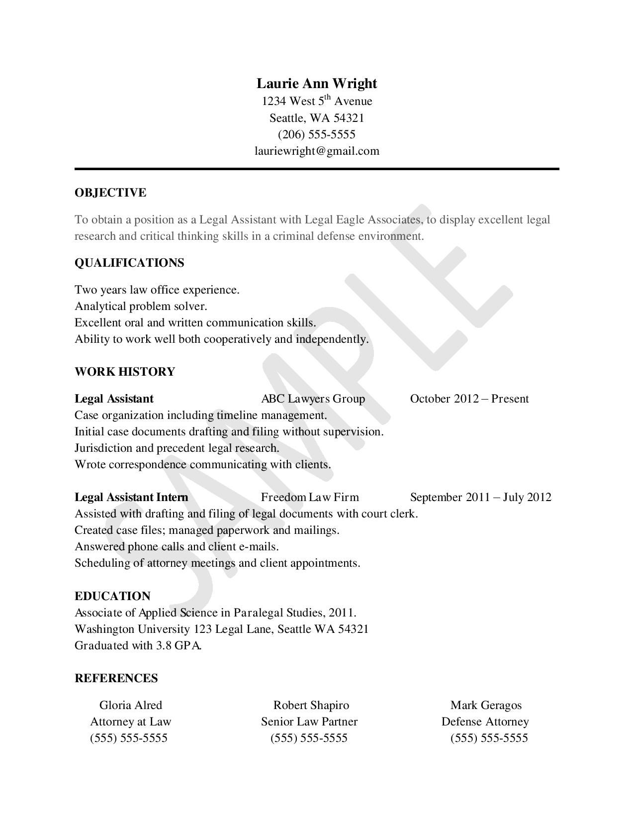 Sample Resume For Legal Assistants  Law Student Resume