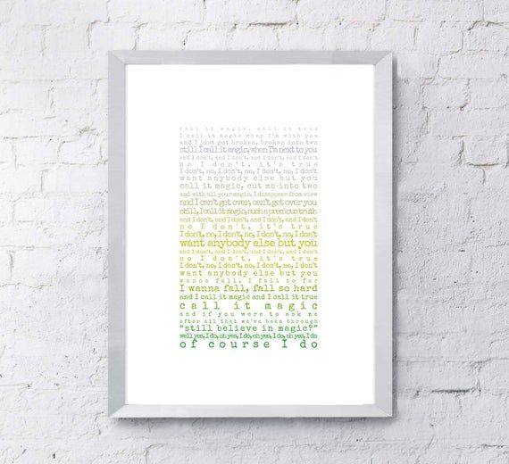 Magic Print, song lyrics print, Gift for husband, Gift for wife, Coldplay, song lyrics first dance a #excelwordaccessetc