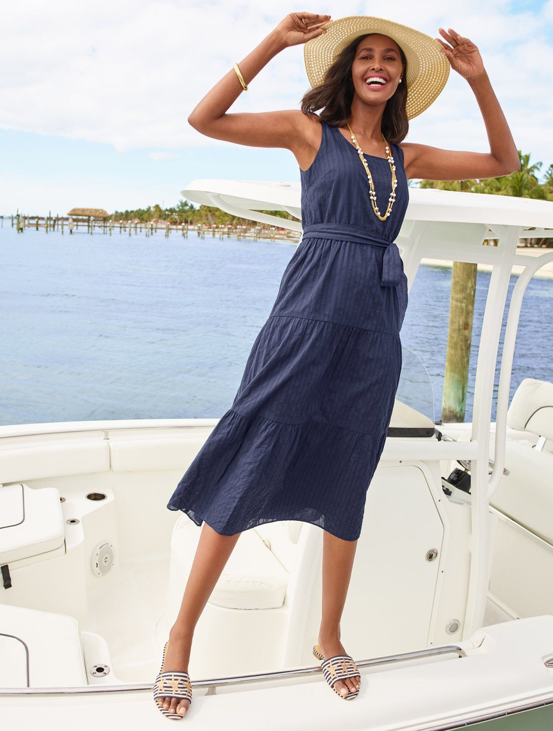 The Perfect Maxi Dress To Throw On And Go And Look Fabulous A Self Tie Belt Defines Your Waist For A More Shape Tiered Maxi Dress Talbots Outfits Maxi Dress [ 1492 x 1128 Pixel ]