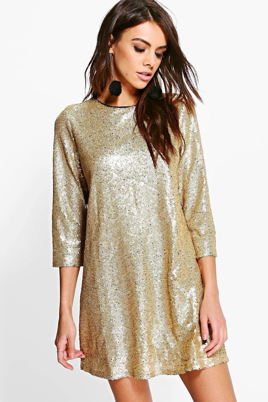 Boutique Lucie Sequin 3 4 Sleeve Shift Dress Boohoo Dresses Vegas Dresses Sparkle Vegas Dress [ 1500 x 1000 Pixel ]