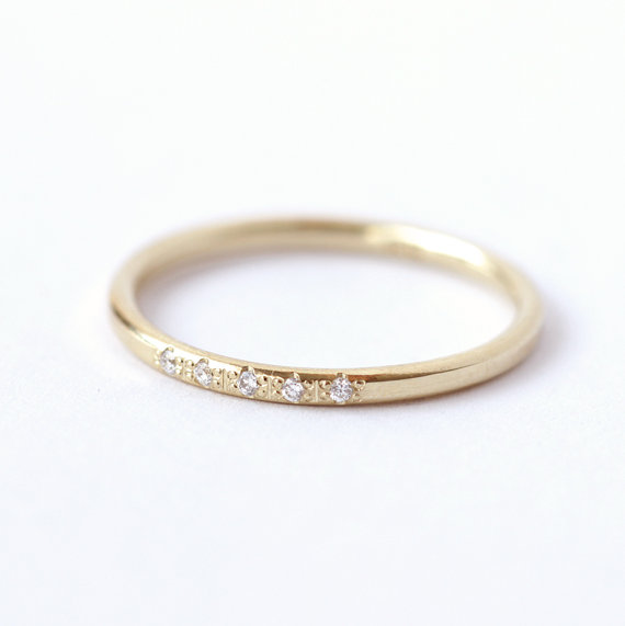 Pave Diamond Ring Thin Wedding 18k Solid Gold