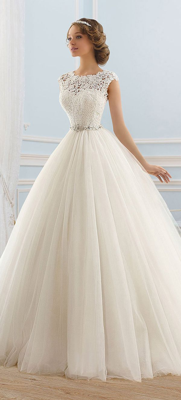 Junoesque tulle bateau neckline ball gown wedding dress wedding