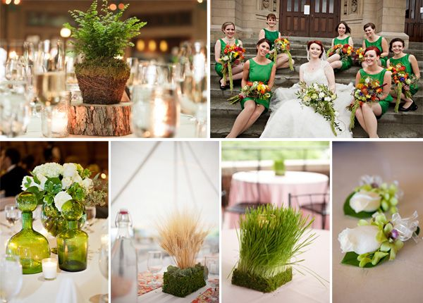 Inspiration board of florals to use at your green wedding!