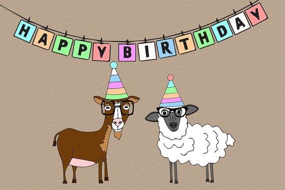 Il 570xn 431349099 Rd3g Jpg 570 380 Happy Birthday Goat Happy Birthday Greeting Card Birthday Greetings