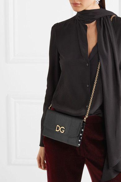 Dolce   Gabbana - Lizard-effect Leather Shoulder Bag - Black ... 6cea39f688