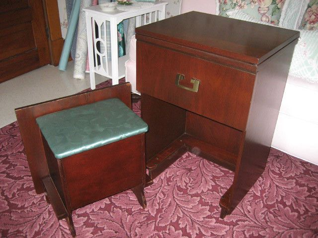 Vintage 1951 Necchi Sewing Machine Cabinet with Built-in Bench Fits Singer & Vintage 1951 Necchi Sewing Machine Cabinet with Built-in Bench Fits ...