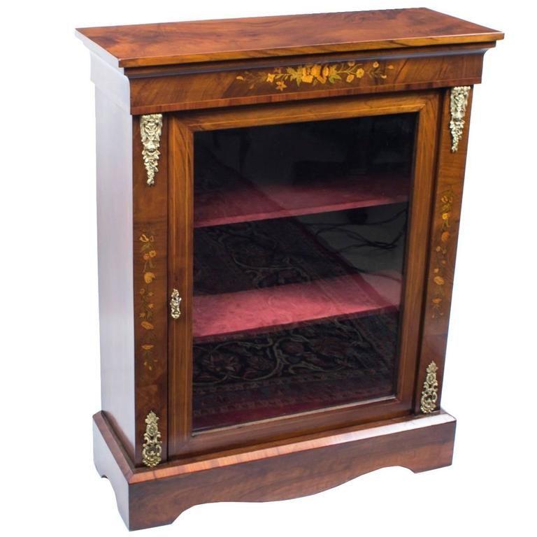 antique victorian burr walnut marquetry pier cabinet, circa 1870