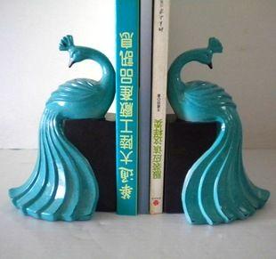 Beautiful peacock book ends