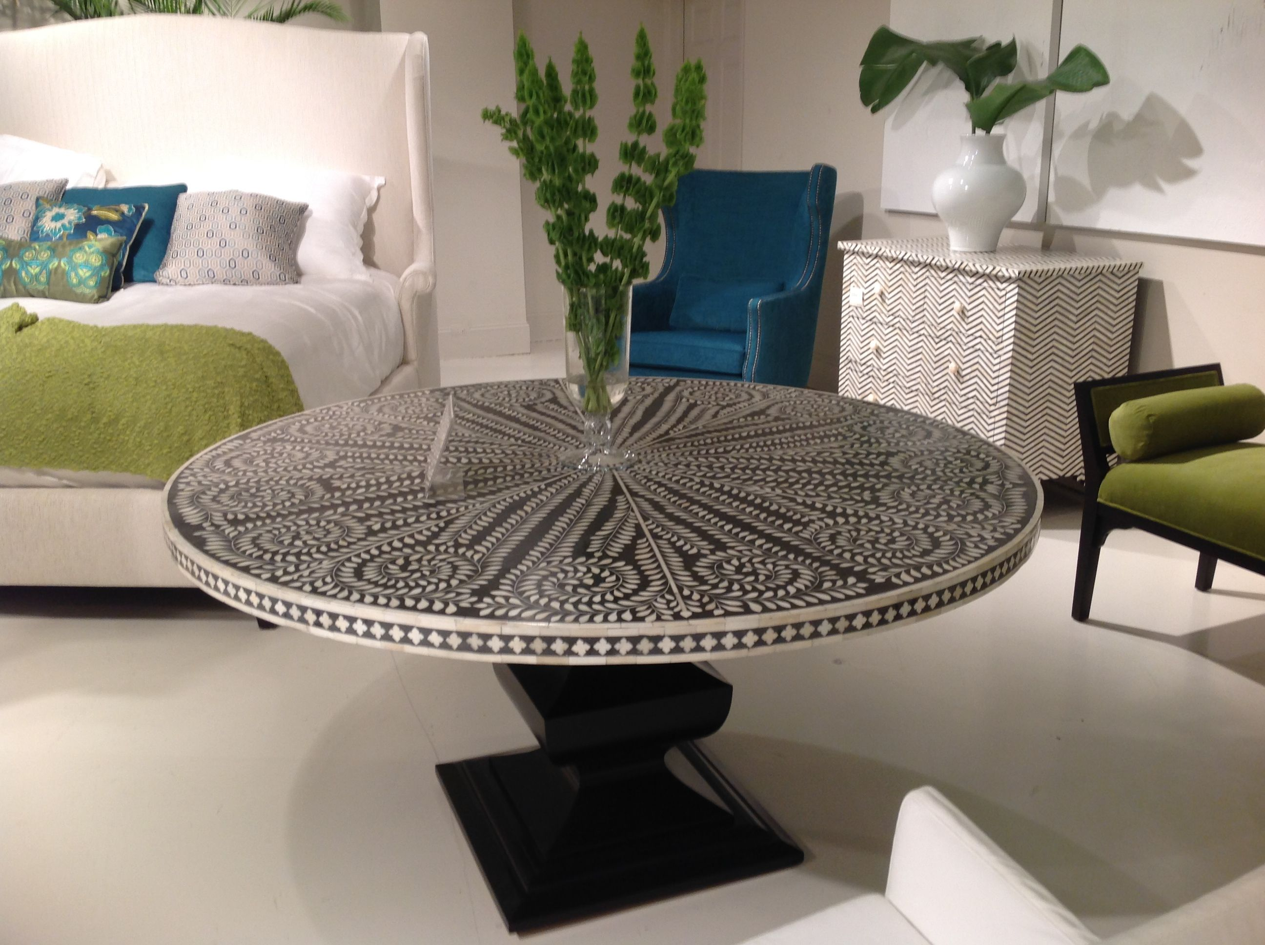 bernhardt interiors inlay black and white table