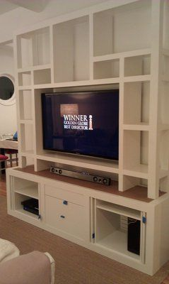 Samsung 55 LED TV Recessed In Floor To Ceiling Bookshelf Needs Hold About 100 Hundred Books