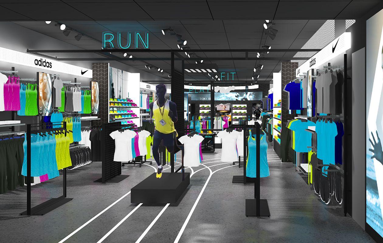 JD Pro render Retail interior design, Sports, Retail