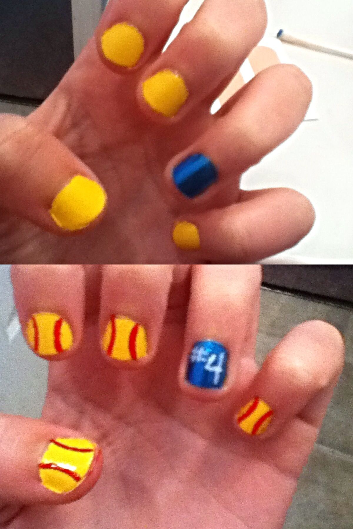 Softball nails. Paint 4 nails yellow and 1 your team color. Then use ...