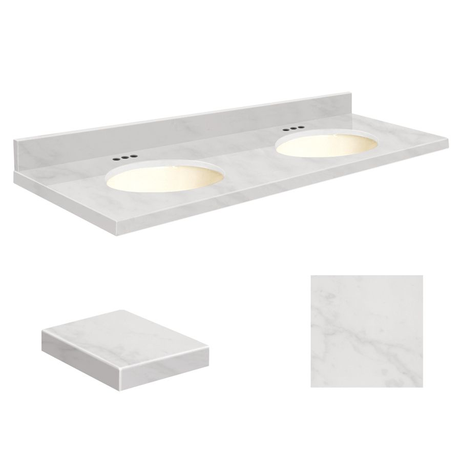 Transolid White Marble Natural Marble Undermount Double Sink Bathroom Vanity  Top (Common: 61 In X 22 In; Actual: 61 In X