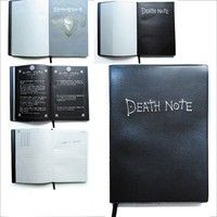 This version of the Death Note notebook contains the cover in English texts           The lettering