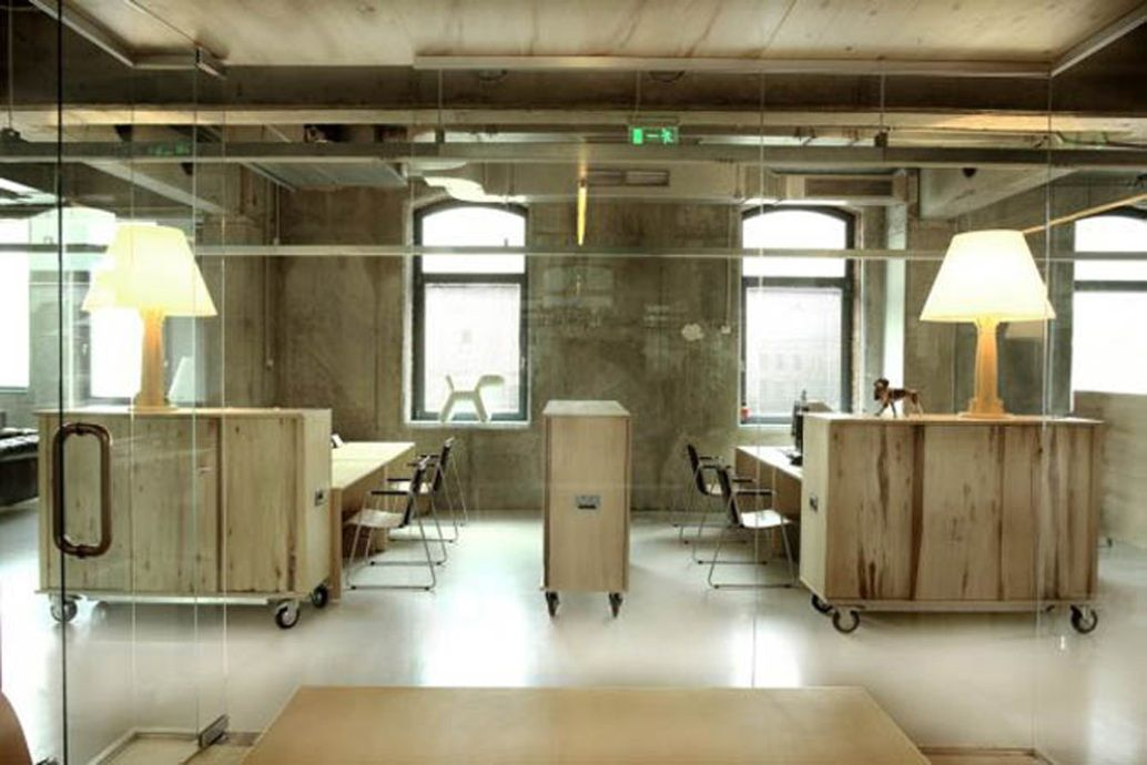 modern interior office stock. Corvin Cristian - \u201cheadvertising Offices\u201d In The Old Romanian Stock Exchange Building, Shipping Case Themed Furniture Acts As Storage, Dividing Walls, Modern Interior Office