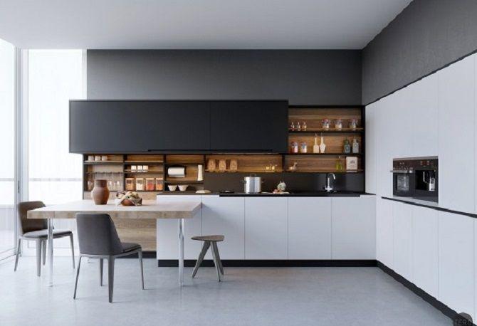 3 Minimalist Kitchen Design With Black White Wood Material Ideas White Modern Kitchen White Wood Kitchens Modern Black Kitchen