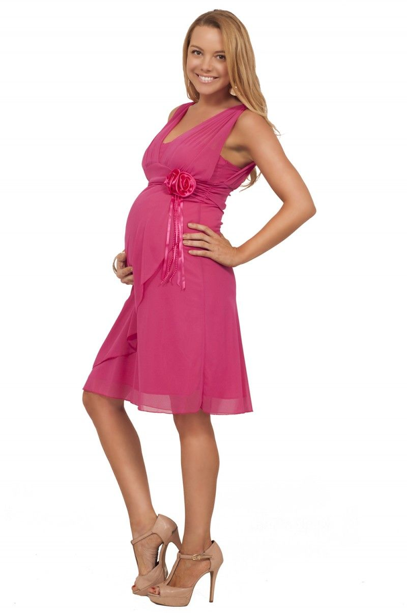 Strapped Knee High Empire Waist Bridesmaid Evening Maternity Formal