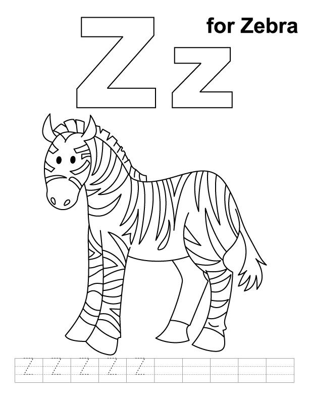 Z for zebra coloring page with handwriting practice
