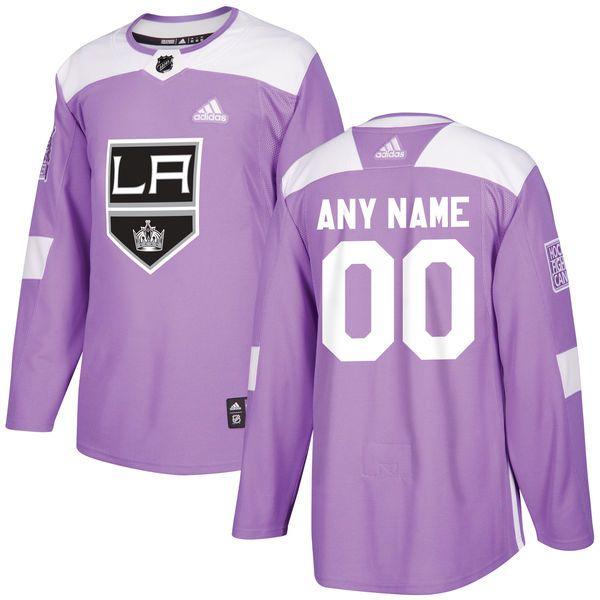 1856d6af3 Men s Los Angeles Kings adidas Purple Hockey Fights Cancer Custom Practice  Jersey
