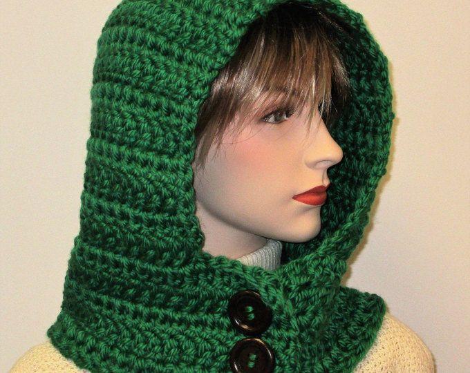 Kelly verde sudadera de capucha con capucha cuello de ganchillo ...