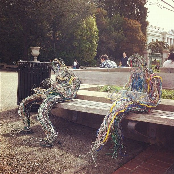 Wire/electrical cable sculptures on their IPhone and iPad outside ...