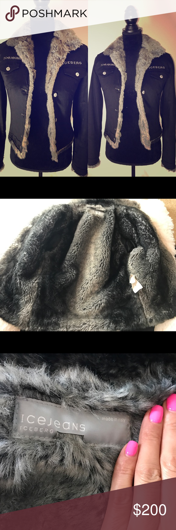 Authentic Vintage Iceberg Fur Jacket Very Pretty On No Missing Rhinestones Faux Fur Excellent Condition No Stains Rips Or S Clothes Design Fur Jacket Fashion [ 1740 x 580 Pixel ]