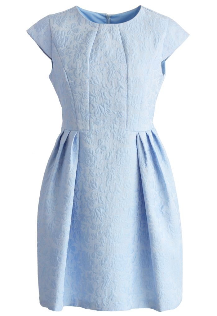 Joyful Floral Embossed Dress in Blue - Floral - Dress - Retro, Indie and Unique Fashion
