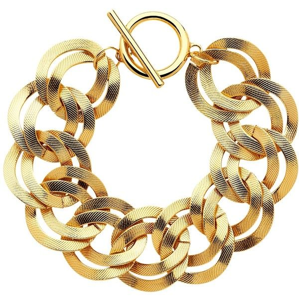 Monet Textured Double Chain Bracelet Gold 40 Liked On Polyvore Featuring Jewelry Bracelets Bangles Jewellery