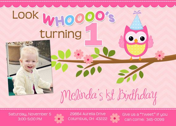 Pink Owl and Chevron Birthday Party Invitations by PartyPopInvites - invitation for 1st birthday party girl