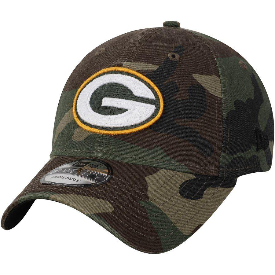 182340b64 Men s Green Bay Packers New Era Woodland Camo Primary Logo Core Classic  9TWENTY Adjustable Hat