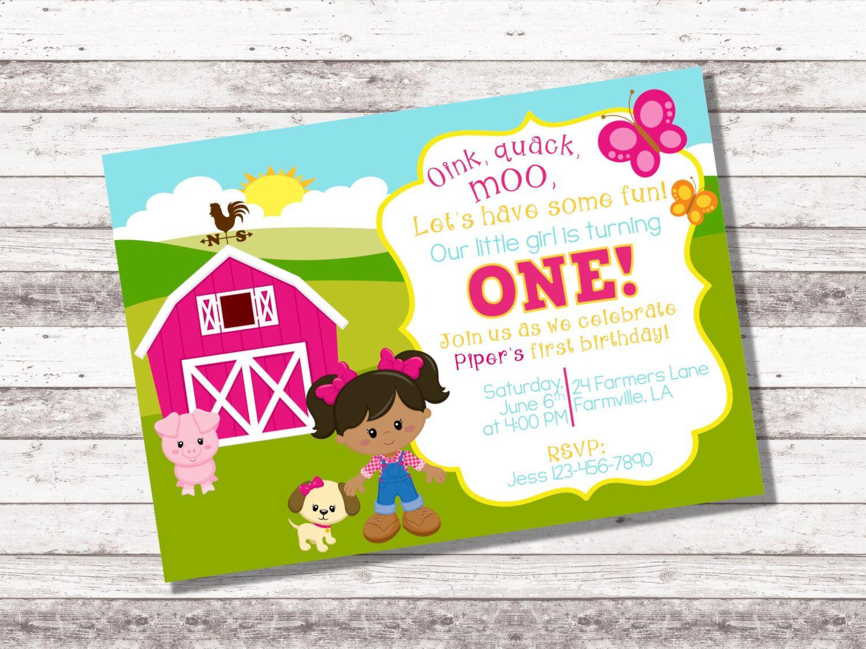 Girls Farm Birthday Invitation 1st 2nd Birthday Invitation
